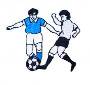 Craft Factory Iron or Sew On Fabric Motif Applique Football Players Blue vs White