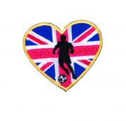 Craft Factory Iron or Sew On Fabric Motif Applique Union Jack Heart & Football Player