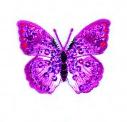 Craft Factory Iron or Sew On Fabric Motif Applique Pink Sequin Butterfly