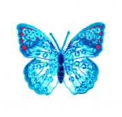 Craft Factory Iron or Sew On Fabric Motif Applique Blue Sequin Butterfly