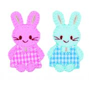 Craft Factory Iron or Sew On Fabric Motif Applique Pink & Blue Checked Bunnies