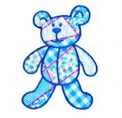 Craft Factory Iron or Sew On Fabric Motif Applique Blue Patchwork Bear