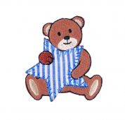 Craft Factory Iron or Sew On Fabric Motif Applique Bear with Blue Stripe Star