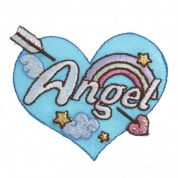 Craft Factory Iron or Sew On Fabric Motif Applique Angel Heart