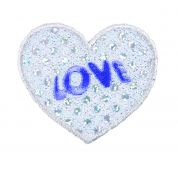 Craft Factory Iron or Sew On Fabric Motif Applique Silver Sequin Love Heart