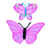 Craft Factory Iron or Sew On Fabric Motif Applique Pink Butterflies