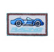 Craft Factory Iron or Sew On Fabric Motif Applique Blue Racing Car