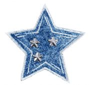 Craft Factory Iron or Sew On Fabric Motif Applique Studded Denim Star
