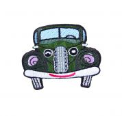 Craft Factory Iron or Sew On Fabric Motif Applique Green Car