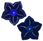 Craft Factory Iron or Sew On Fabric Motif Applique Navy Sequined Flowers