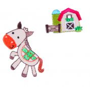 Craft Factory Iron or Sew On Fabric Motif Applique Pony & Barn
