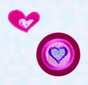 Craft Factory Iron or Sew On Fabric Motif Applique Circle & Hearts