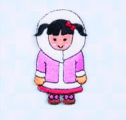 Craft Factory Iron or Sew On Fabric Motif Applique Inuit style Girl