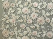 Flower Beaded Couture Bridal Lace Fabric  Ivory & Blush Pink
