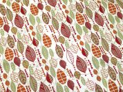 Autumn Leaves Print Cotton & Linen Canvas Fabric  Multicoloured