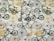 Bikes Print Cotton & Linen Canvas Fabric  Multicoloured