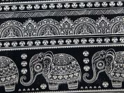Bombay Print Cotton & Linen Canvas Fabric  Black & White
