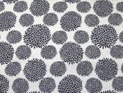 Chrysanthemum Print Cotton & Linen Canvas Fabric  Navy & Ivory