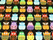 Cute Friends Print Cotton & Linen Canvas Fabric  Multicoloured