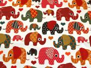 Dumbo Elephants Print Cotton & Linen Canvas Fabric  Multicoloured