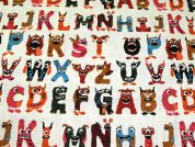Monster Alphabet Print Cotton & Linen Canvas Fabric  Multicoloured
