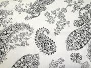 Paisley Flower Print Cotton & Linen Canvas Fabric  Black & White
