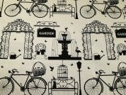 Parklife Print Cotton & Linen Canvas Fabric  Beige