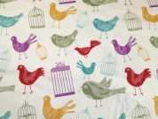 Song Birds Print Cotton & Linen Canvas Fabric  Multicoloured