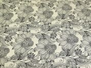 Tangle Wood Print Cotton & Linen Canvas Fabric  Beige