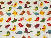 Tweet Birds Print Cotton & Linen Canvas Fabric  Multicoloured