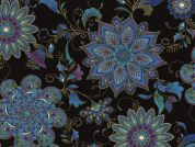 Timeless Treasures Ornate Floral Medallions Metallic Poplin Quilting Fabric