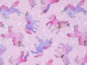 Timeless Treasures Sparkly Unicorns Glitter Poplin Quilting Fabric