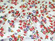 Floral Print Corsage Tufted Cotton Dress Fabric  Coral Pink & Purple