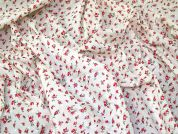 Floral Swiss Dot Fabric  Red & Cream