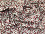 Strawberry Print Cotton Poplin Fabric  Red
