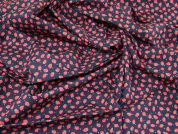 Strawberry Print Cotton Poplin Fabric  Navy Blue