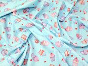 Cupcakes Print Cotton Poplin Fabric  Sky Blue