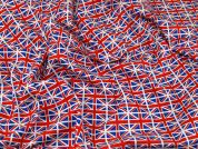 Repeat Flags Print Cotton Poplin Fabric  Red, White & Blue