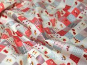 Country Patchwork Print Cotton Poplin Fabric  Pink