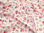 Pretty Hearts Print Cotton Poplin Fabric  Pink