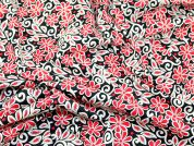 Floral Print Cotton Poplin Fabric  Black