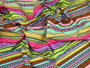 Funky Stripes Print Cotton Poplin Fabric  Multicoloured 1