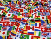 International Flags Print Cotton Poplin Fabric  Multicoloured