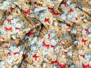 Teddy Bears & Cats Print Cotton Poplin Fabric  Brown
