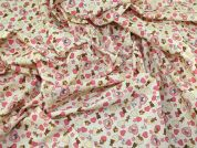 Hearts Print Cotton Poplin Fabric  Ivory
