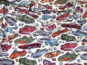 Cars Print Cotton Poplin Fabric  Ivory