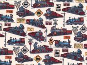 Trains Print Cotton Poplin Fabric  Multicoloured