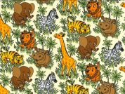 Jungle Animals Print Cotton Poplin Fabric  Multicoloured