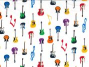 Guitars & Musical Note Print Cotton Poplin Fabric  Multicoloured