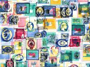 Postage Stamps Print Cotton Poplin Fabric  Multicoloured